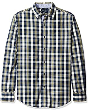 Men's Slim Fit Cord Plaid Shirt