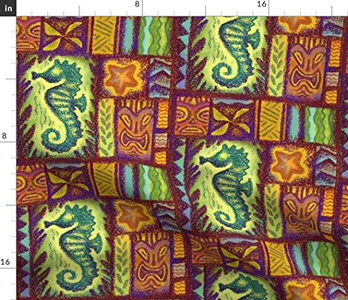 (Seahorse Tiki Fabric - Vintage Hawaiian Tropical Beach Seahorse Tiki Seahorse Ocean Sea Tiki Tapa Print on Fabric by the Yard - Organic Cotton Knit for Baby Blankets Clothing Apparel T-Shirts)