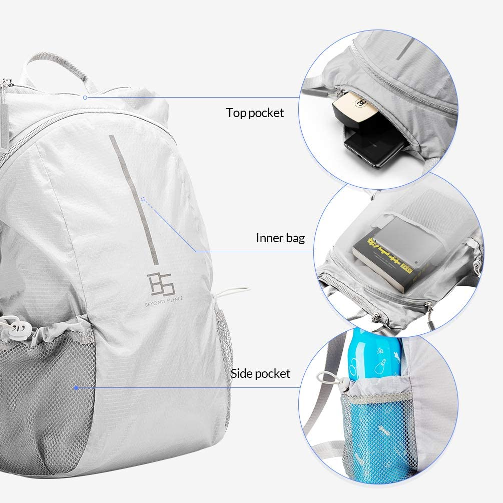 Foldable Hiking Daypack Water Resistant Handy Bags For Camping Outdoor Small Ultra Lightweight Packable Travel Backpack for Women Men Silver-Gray