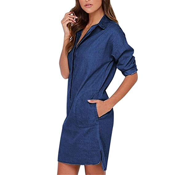 QinMM Vestido de Jeans de Solapa para Mujer, Blusa cárdigan Chaqueta de Punto de otoño