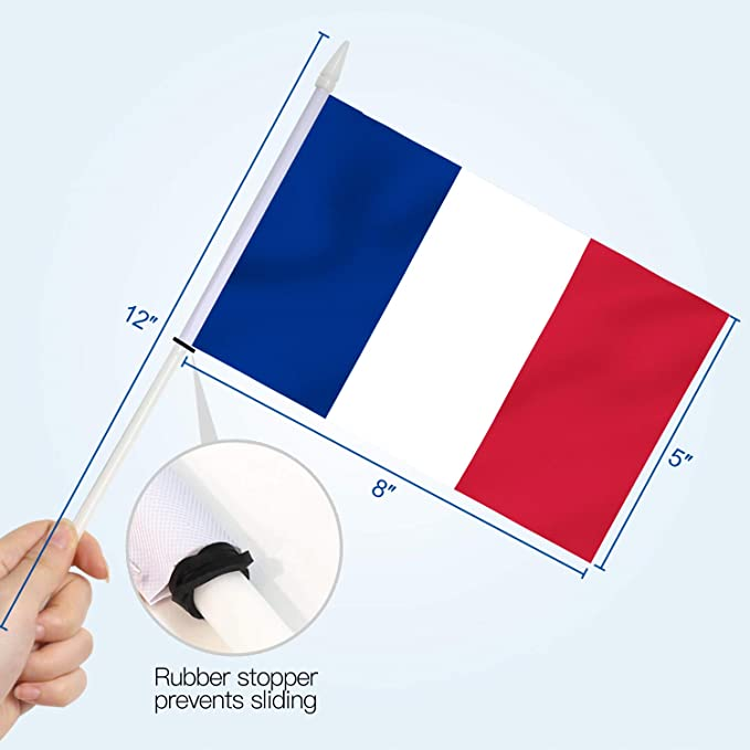 Anley France Stick Flag, Mini Bandera Francesa de 5x8 Pulgadas (12 X 20 cm) con asta Blanca sólida de 12