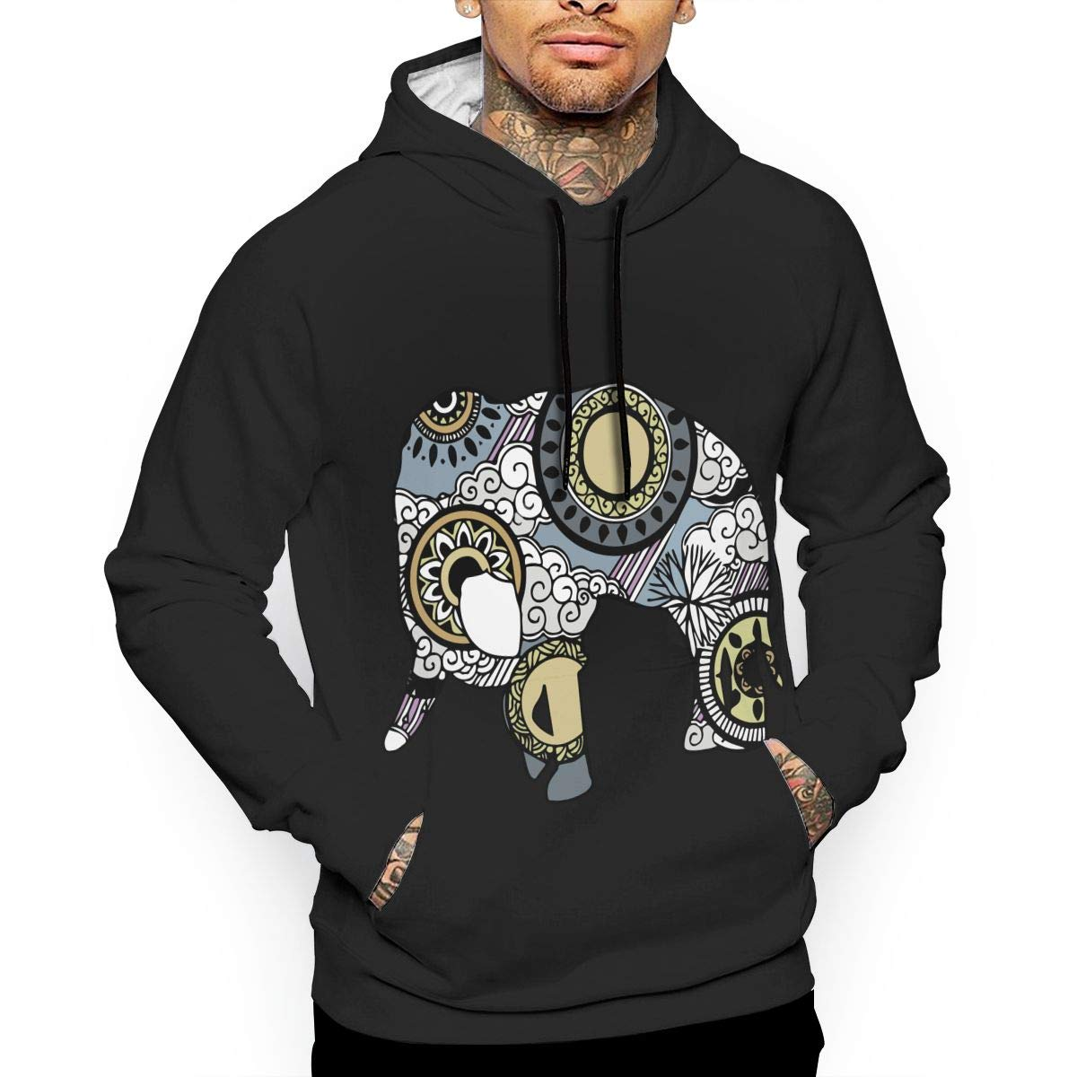 Winter Cotton Sports Pullover with Pocket for Men Men Elephant with Cloud and Rain Ornament Pullover Hoodie