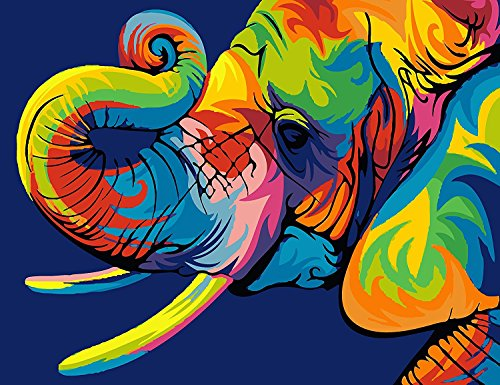 YEESAM ART New Paint by Number Kits for Adults Kids - Colorful Elephants 16x20 inch Linen Canvas (with Frame)