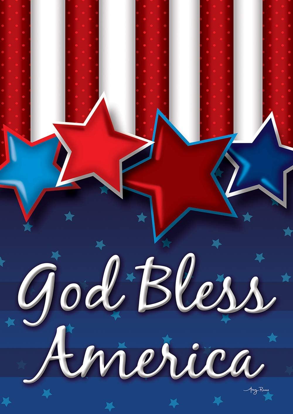 "Toland Home Garden 1112384 God Bless America Stars 12.5 x 18 Inch Decorative, Garden Flag (12.5"" x 18""),"