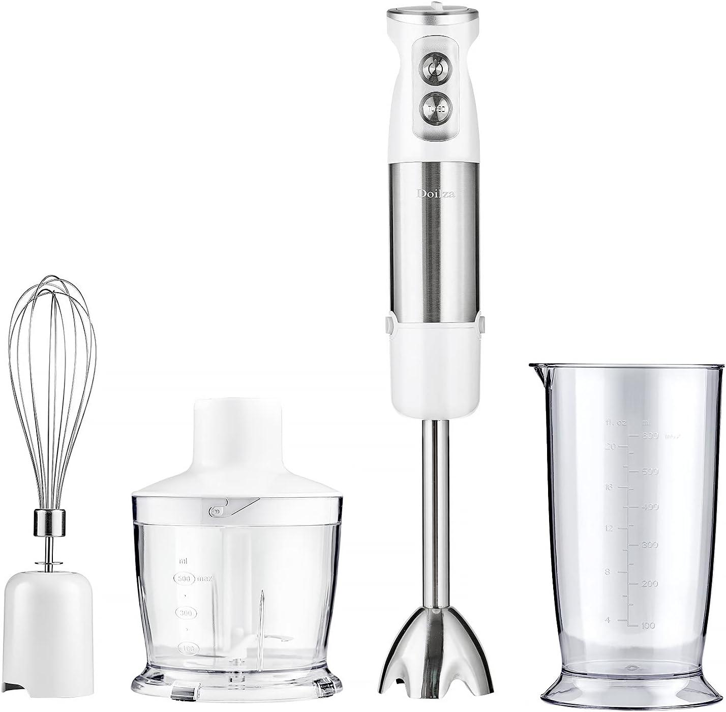 4-in-1 Immersion Hand Blender 500 Watt Variable Speed Motor Stick Blender For Kitchen WithTurbo For Egg Beater Coffee Frother Whisk BPA-Free white
