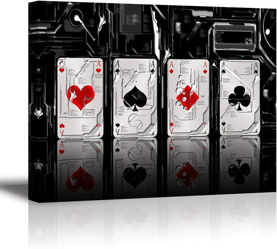 Tku's Abstract Canvas Wall Art Poker Cards Painting for Bedroom, Ace On White Black Background Picture, Modern Home Decor (Waterproof, Ready to Hang)