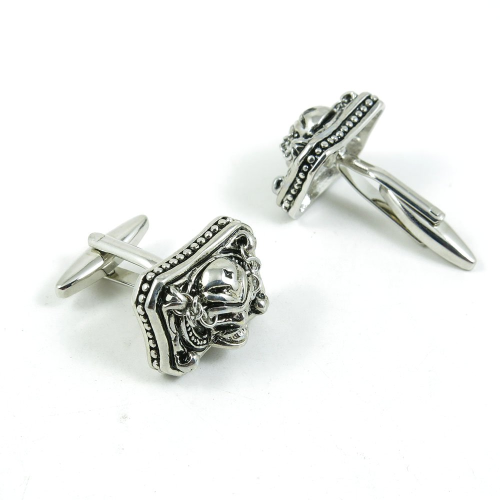 50 Pairs Cufflinks Cuff Links Fashion Mens Boys Jewelry Wedding Party Favors Gift OPW063 Silver Retro Skull