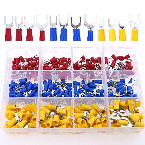 Fork Spade - Glarks 240pcs 22-16/16-14/12-10 Gauge Fork Spade Quick Splice Crimp Terminals Connectors Assortment Kit