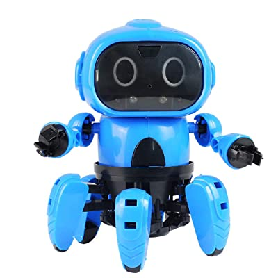 Interactive Smart Robot Toy, Senses Gesture Control Walking Smart Robot Christmas Xmas Playful Gifts Kids (Blue): Beauty