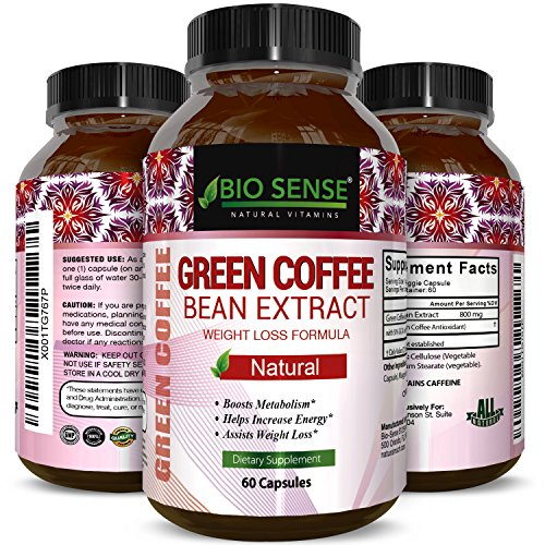 100 % Pure Green Coffee Bean Extract with Highest Quality 800 Mg Best Formula for Weight Loss on the Market for Women and Men by Bio Sense For Sale