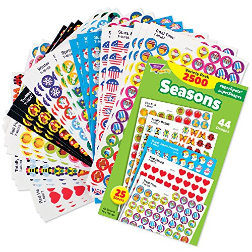 Mini Reward Stickers - Trend Enterprises Seasons superSpots & superShapes Stickers Variety, Pack of 2500