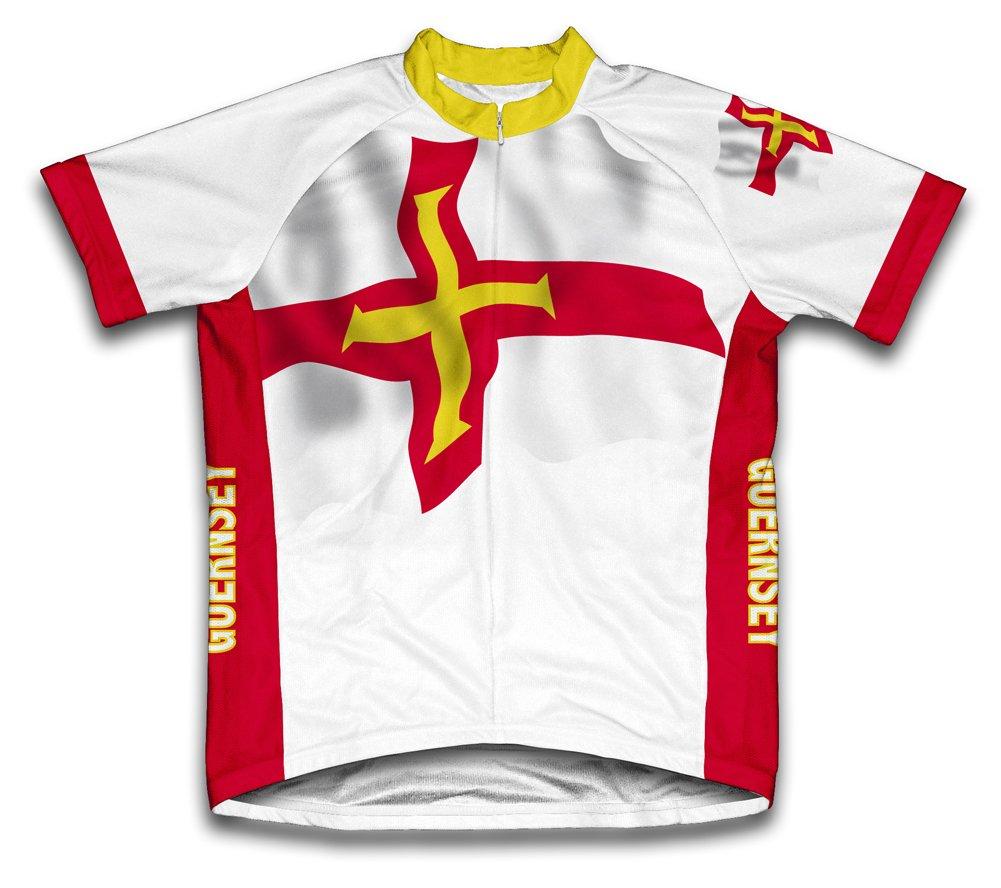 Guernesey Drapeau à manches courtes Maillot de cyclisme pour femme Large Blanc - blanc   B00EDKQCAA