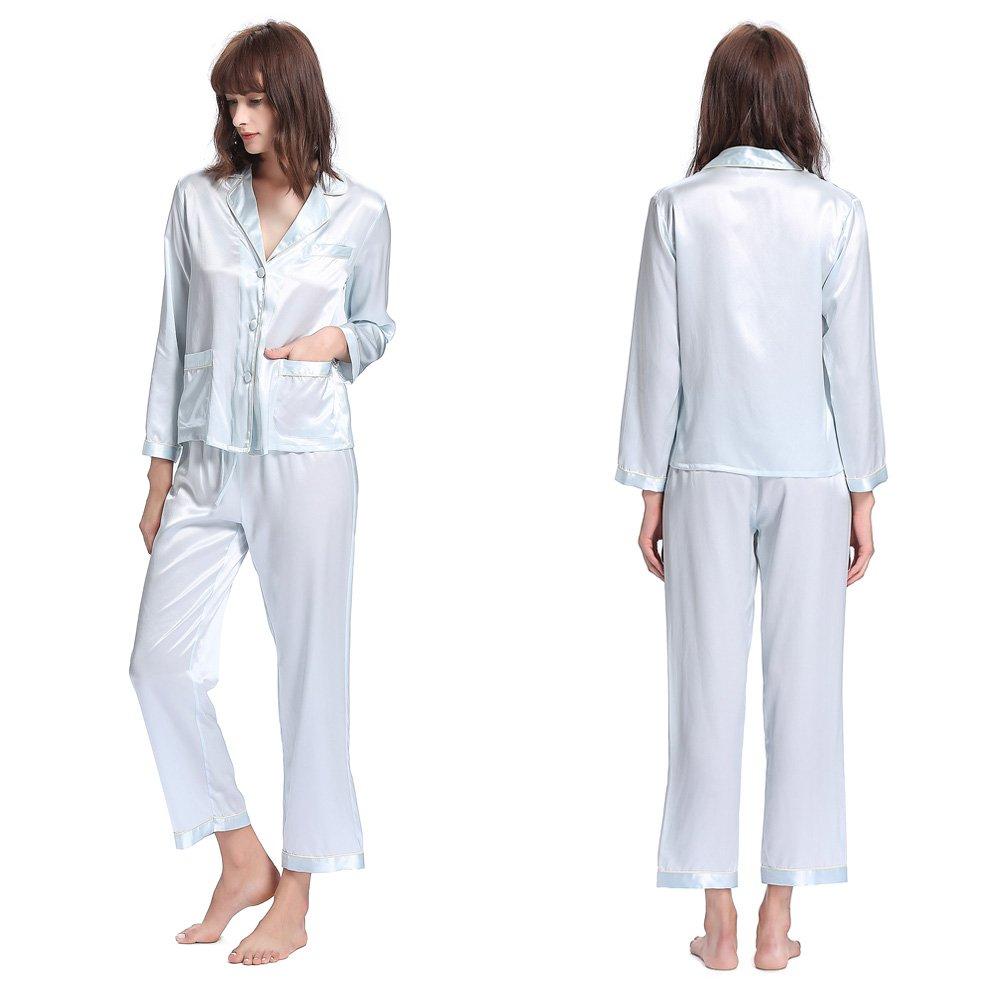 Light Sky bluee LilySilk Silk Pajamas for Women with Contrast Trimming