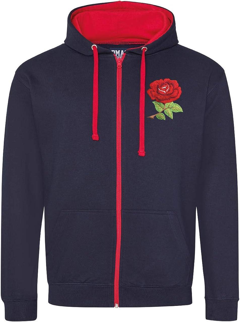 Unisex Adult Vintage Retro England English Rose Rugby Zipped Hoodie