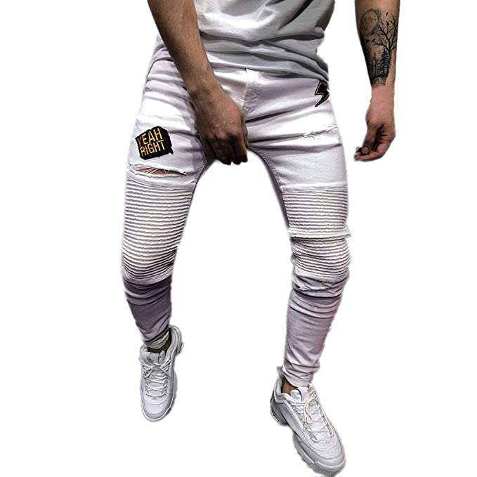 Amazon.com: Men Denim Pants Long Slim Fit Skinny Stretch ...