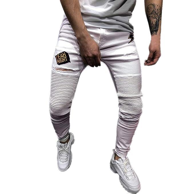 Pantalones Vaqueros Hombre SUNNSEAN Sólido Blanco Casual con ...