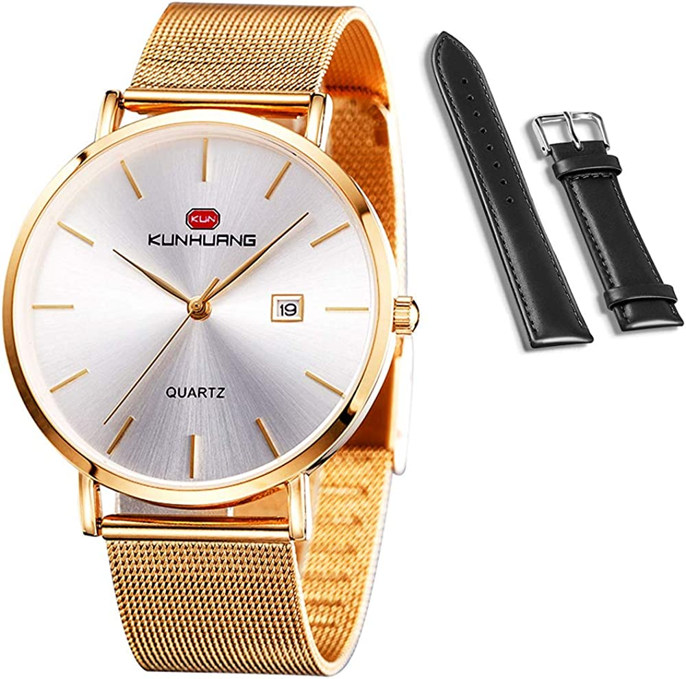 KunHuang 2020 New Men s Fashion Watches Ultra-Thin Designed Dress Watches and Casual Watches for Men Women, Quartz Analog Date Wrist Watches with Both Stainless Steel Mesh Band and Leather Strap
