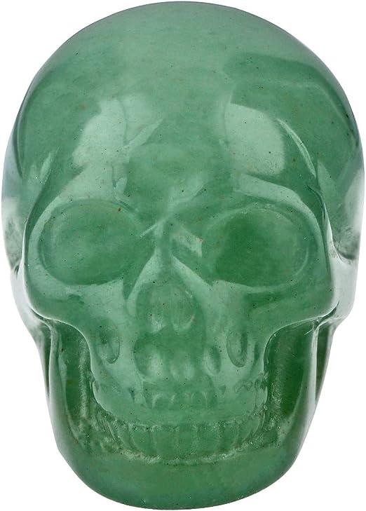 Hand Carved Green Jade Gemstone Healing Energy Reiki Meditation Figurine Skull