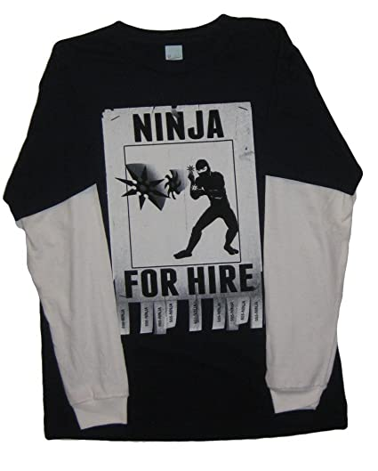 Amazon.com: Pacific Boys Layered-Look Ninja for hire Tee ...