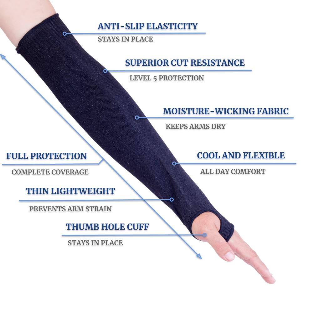 18//22 Inch Long Arm Protectors Heat /& Cut Resistant Sleeves with Thumb Holes 1 Pair Kevlar Sleeves by Limerense Flexible Level 5 Protection Arm Safety Sleeves Washable Lightweight