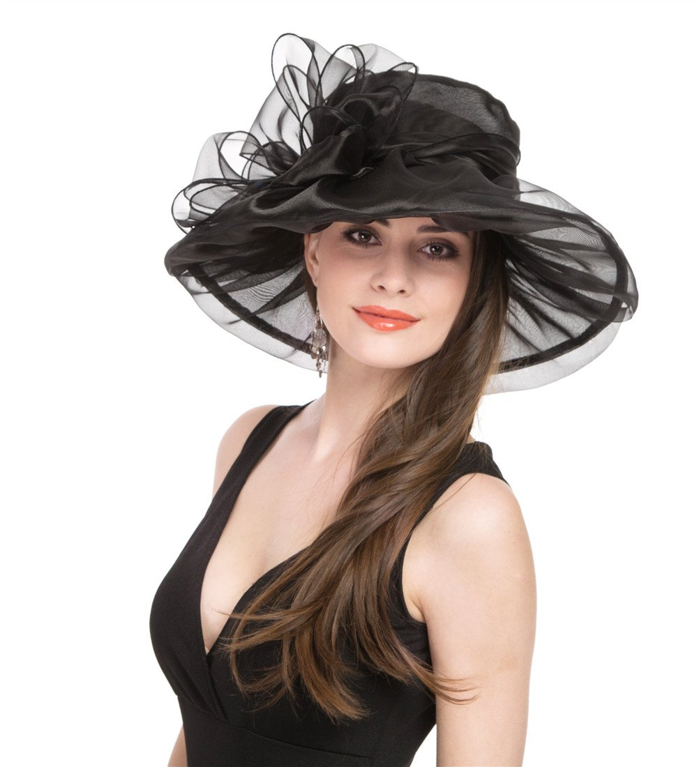 SAFERIN Women's Kentucky Derby Party Church Wedding Floral Organza Hat (Black with Bowknot)