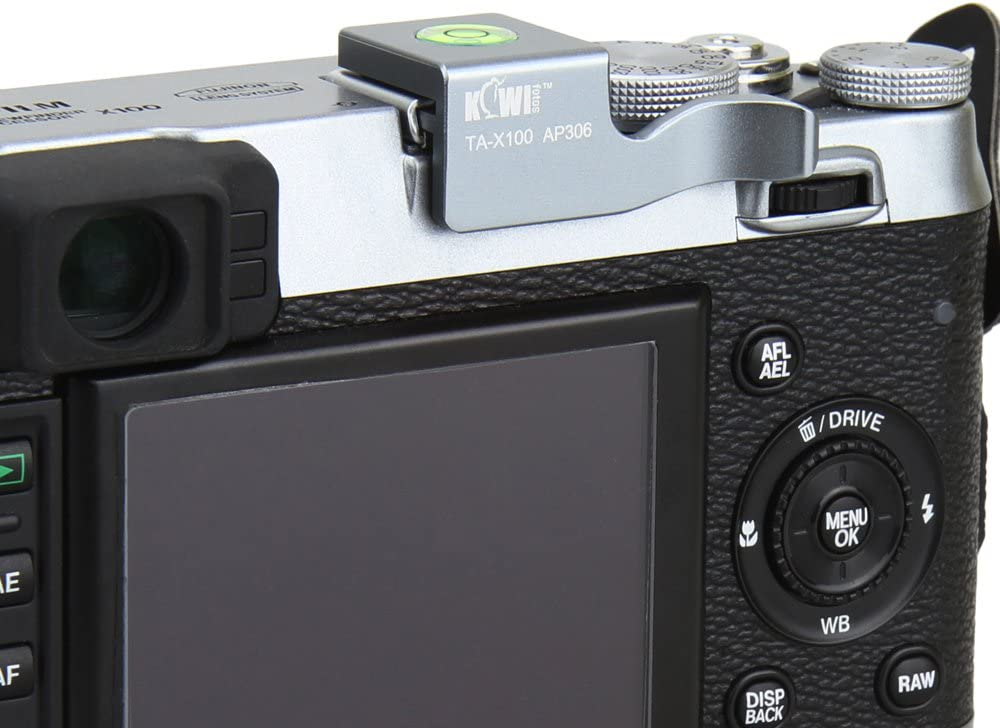 KIWIFOTOS TA-X100 Silver Hot Shoe Adapter Cover Thumb Up Grip With Bubble Level For Fujifilm FinePix X100 X100s Camera