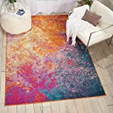 "colorful area rugs Nourison  Passion Modern Abstract Colorful Sunburst Area Rug, 5'3"" x 7'3"""