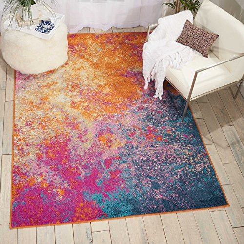 Sunburst Contemporary Area Rugs (Nourison (PSN10) Passion Modern Abstract Colorful Sunburst Area Rug, 6'7