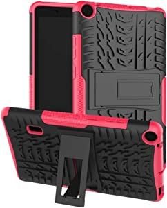 DWAYBOX Case for MediaPad T3 7.0 Inch WiFi Vesion Hybrid Rugged Heavy Duty Armor Hard Back Cover with Kickstand Compatible with Huawei MediaPad T3 7.0 Inch WiFi Vesion BG2-W09 (Hot Pink)