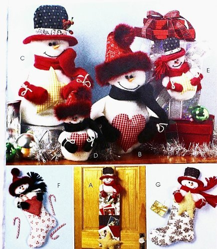 (OOP McCalls Crafts Pattern M4996. Snowman Accessories: Cardholder, Centerpiece, Ornament & Stocking)