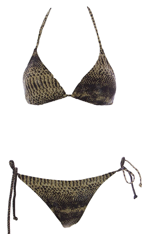 7d74c0fc497e2 Amazon.com: Naila Women's Olive Triangle Bikini Set Python: Clothing