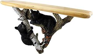 Zeckos Black Forest Bear Cubs Decorative Wall Sculpture w/Wooden Shelf