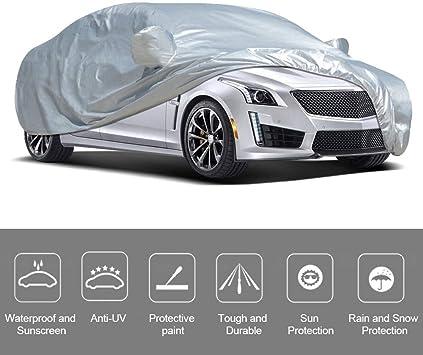 VISLONE Copriauto Telo Auto Aggiornato Copriauto Anti UV Anti Pioggia Protezione Solare Protezione da Pioggia e Neve Copriauto Impermeabile e Pieghevole XL: 490 * 178 * 120 cm