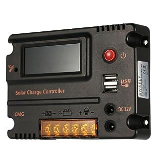 Anself Pro Regulador de Carga de 20A 12V/24V LCD Solar Panel Controlador Batería Auto interruptor sobrecarga el protección compensación de temperatura