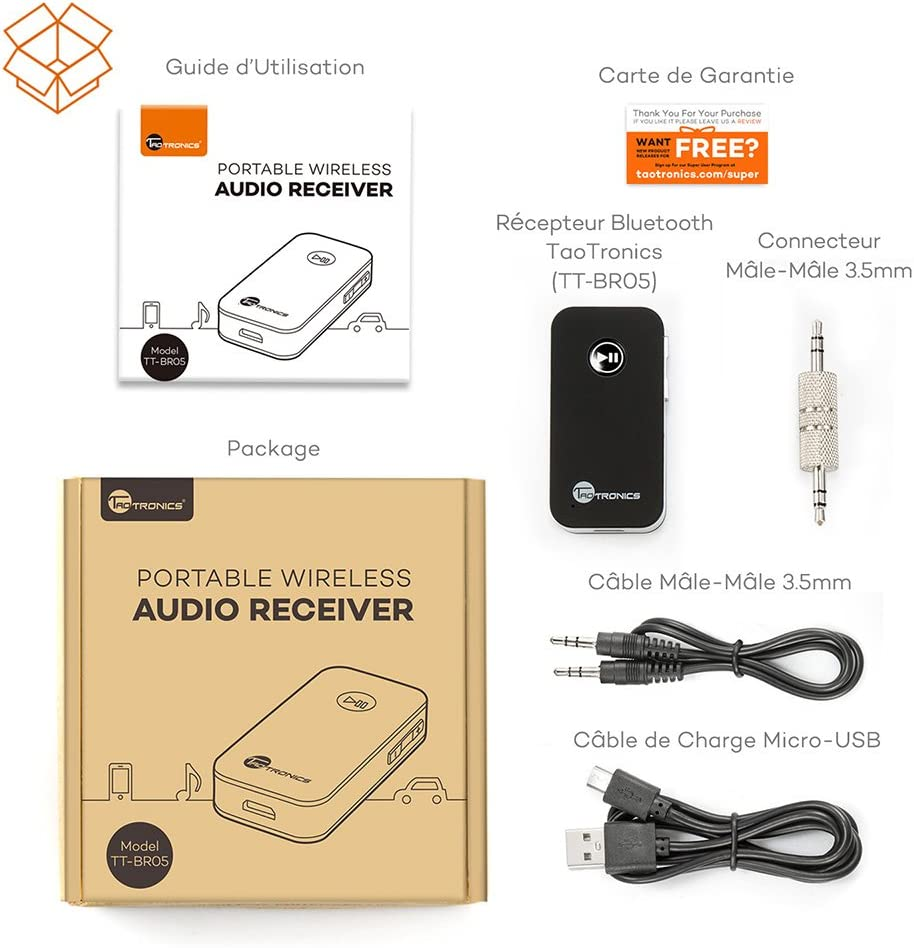 TaoTronics Bluetooth Receiver Bluetooth Adapter Wireless Bluetooth 4.2 Receiver with Hands-Free Bluetooth Car Kit Speaker System and Mobile Phone with Stereo 3.5 mm Aux 【New Version】