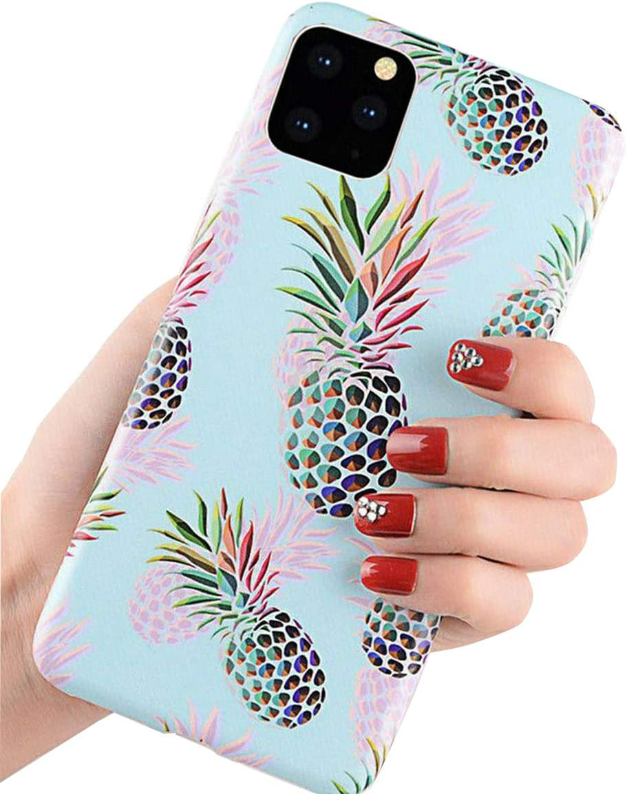 Topwin Pineapple Compatible With iPhone 11 Pro Max, Floral Pineapple Ultra Slim Soft Flexible TPU Rubber Silicone Cover Anti-Scratch Thin Lightweigt Back Cover for Apple iPhone 11 Pro Max 6.5''(Green)