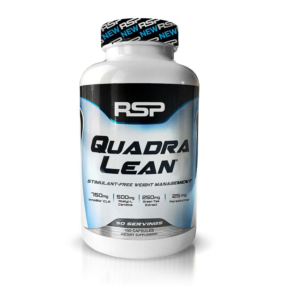 RSP QuadraLean Stimulant Free Fat Burner Pills, Weight Loss Supplement, Appetite Suppressant & Metabolism Booster, Diet Pill for Men & Women, 50 Servings