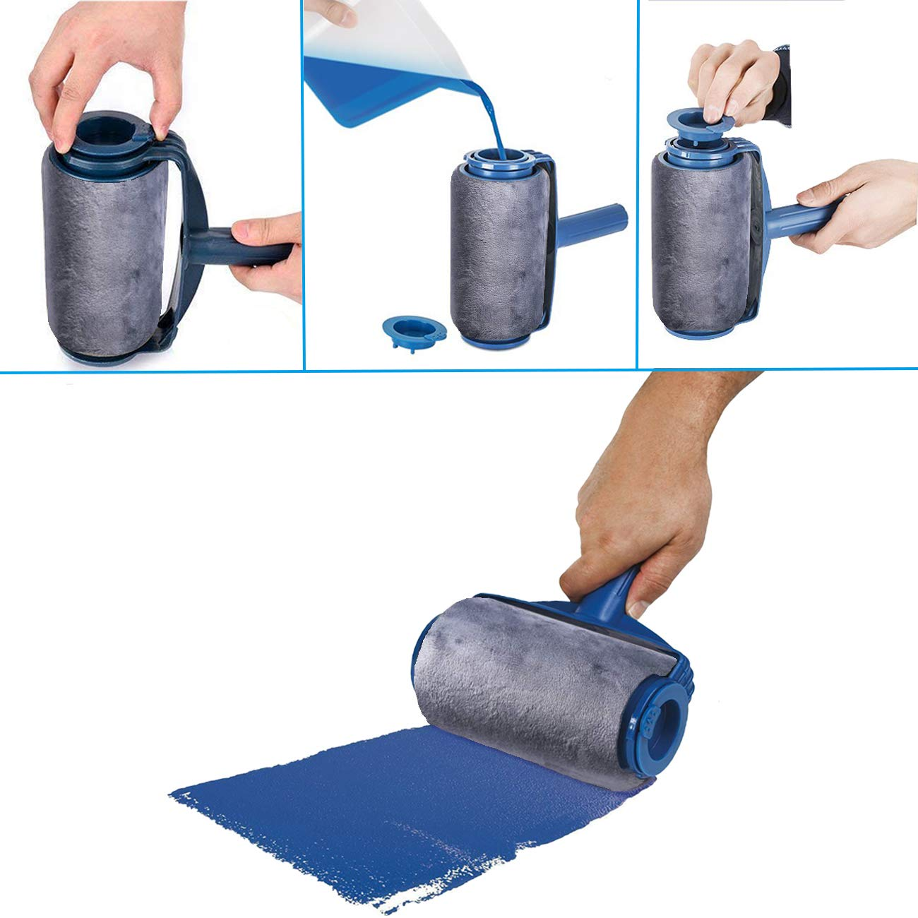 Multifunctional Paint Roller BlitzSo House Paint Roller Brush Kit with Extendable Rod Wall Painting Brush Set for House,Office 2 Wear Resistant Paint Runner Pro Silver Gray