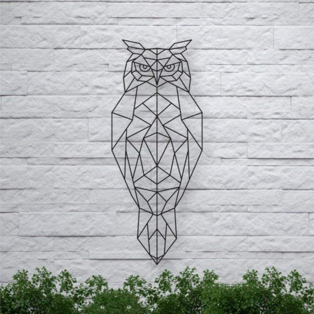 DONL9BAUER Metal Geometric Owl Plaque Home Decor Animal Sign Wall Art Metal Sculpture Front Porch Door Hanger, Idea Present for Baby Shower Housewarming Wedding
