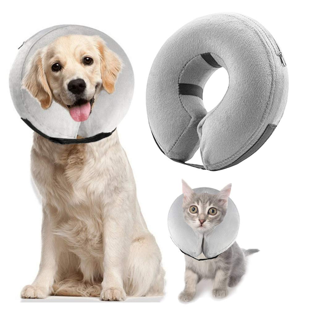 Buy XLSFPY Dog Cones, Inflatable Dog Collar for Pet Surgery, Recovery Cone  Collar Prevent Dogs & Cats from Biting & Scratching, Adjustable E-Collar  with 5 Size Fit for Most Dogs & Cats