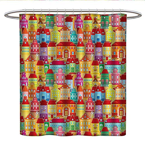 Cityscape CartoonsUnique Shower curtainEuropean Architecture Art Houses with Pillars and Fountains Cute Shower Curtain
