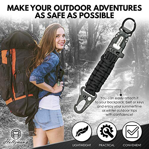 Ultimate 5-in-1 Paracord Keychain with Carabiner for Camping, Fishing, Hunting & Outdoor Emergencies | Multipurpose Survival Tool with Paracord, Emergency Whistle, Flint Rod, Cutting Tool & Key Ring by Holtzman's Gorilla Survival (Image #2)