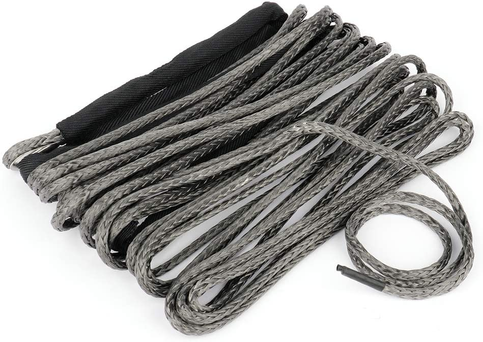 ROADFAR 1//4 inch x 50ft 10000 LBs Synthetic Winch Line Cable Rope with Sheath for ATV UTV Truck Winch Black
