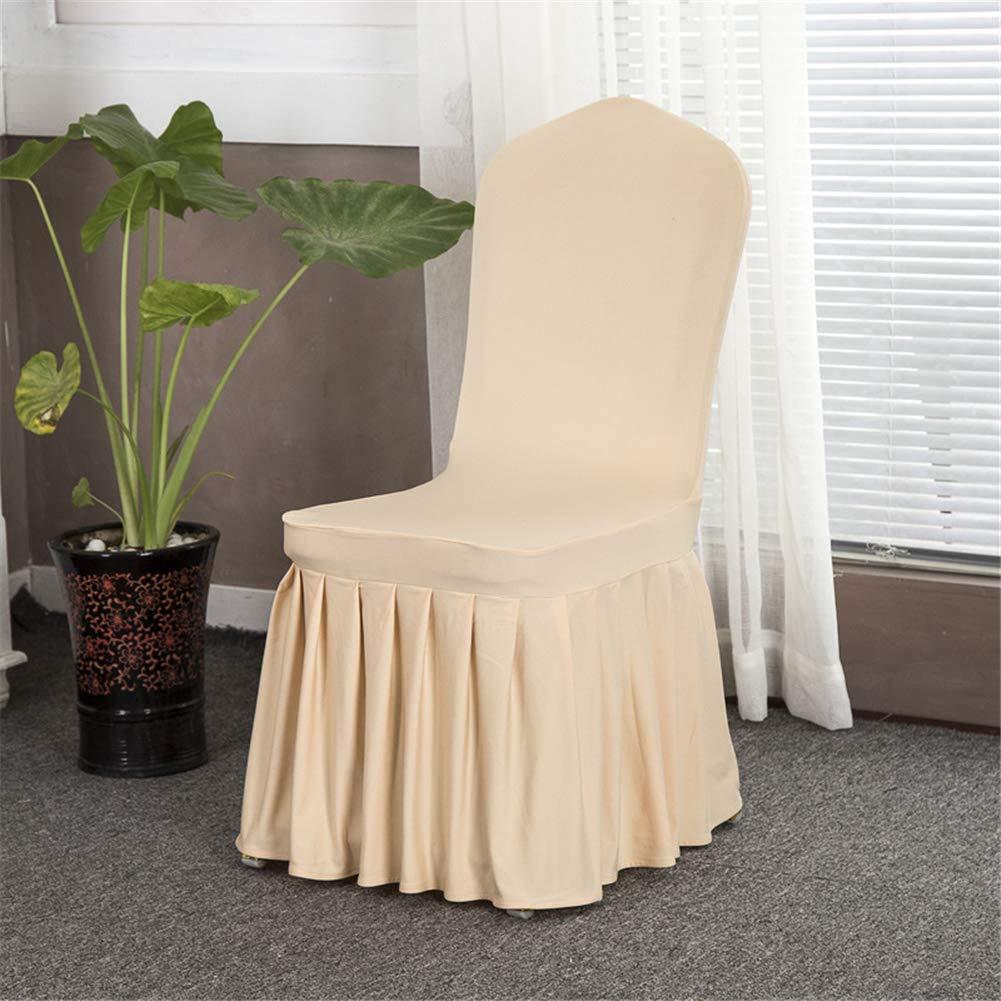 フリル付き伸縮性ダイニングチェアカバープロテクター 1ピース 宴会用椅子シートスリップカバー ホテルや結婚式用 取り外し可能 洗濯可能 イエロー LHM-YITAO5-4XBIN  シャンパン B07G97RH9N