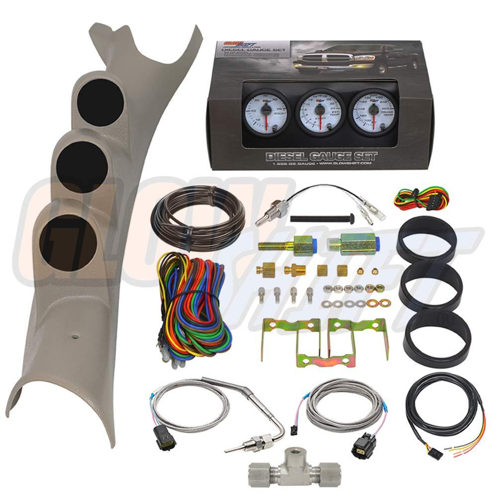 GlowShift Diesel Gauge Package for 2003-2009 Dodge Ram Cummins 2500 3500 - White 7 Color 60 PSI Boost, 2400 F Pyrometer EGT & Transmission Temp Gauges - Factory Color Matched Triple Pillar Pod