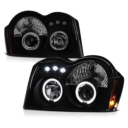 amazon com: [for 2005-2007 jeep grand cherokee] led halo ring black smoke  projector headlight headlamp assembly, driver & passenger side: automotive