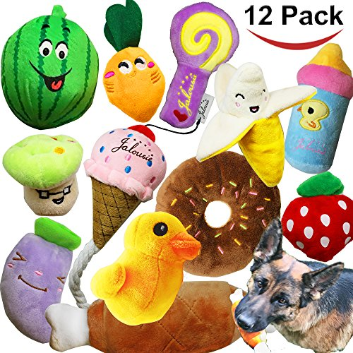 Jalousie 12 pack dog squeaky toys cute plush toys for small medium dog pets -