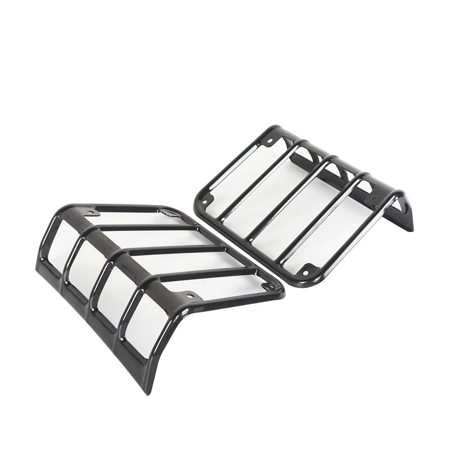 Hooke Road Black Euro Light Guards for Rear Taillight Pair Tail Light Covers fit 2007-2018 Jeep Wrangler JK