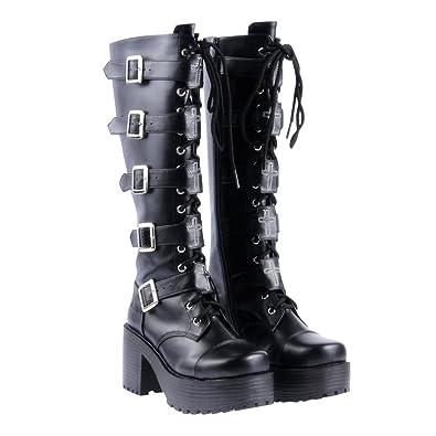 ed79d499e0da Lorie   Knight Japanese Harajuku Women Black Leather Buckle Straps Lace Up  Gothic Punk Cosplay Platform