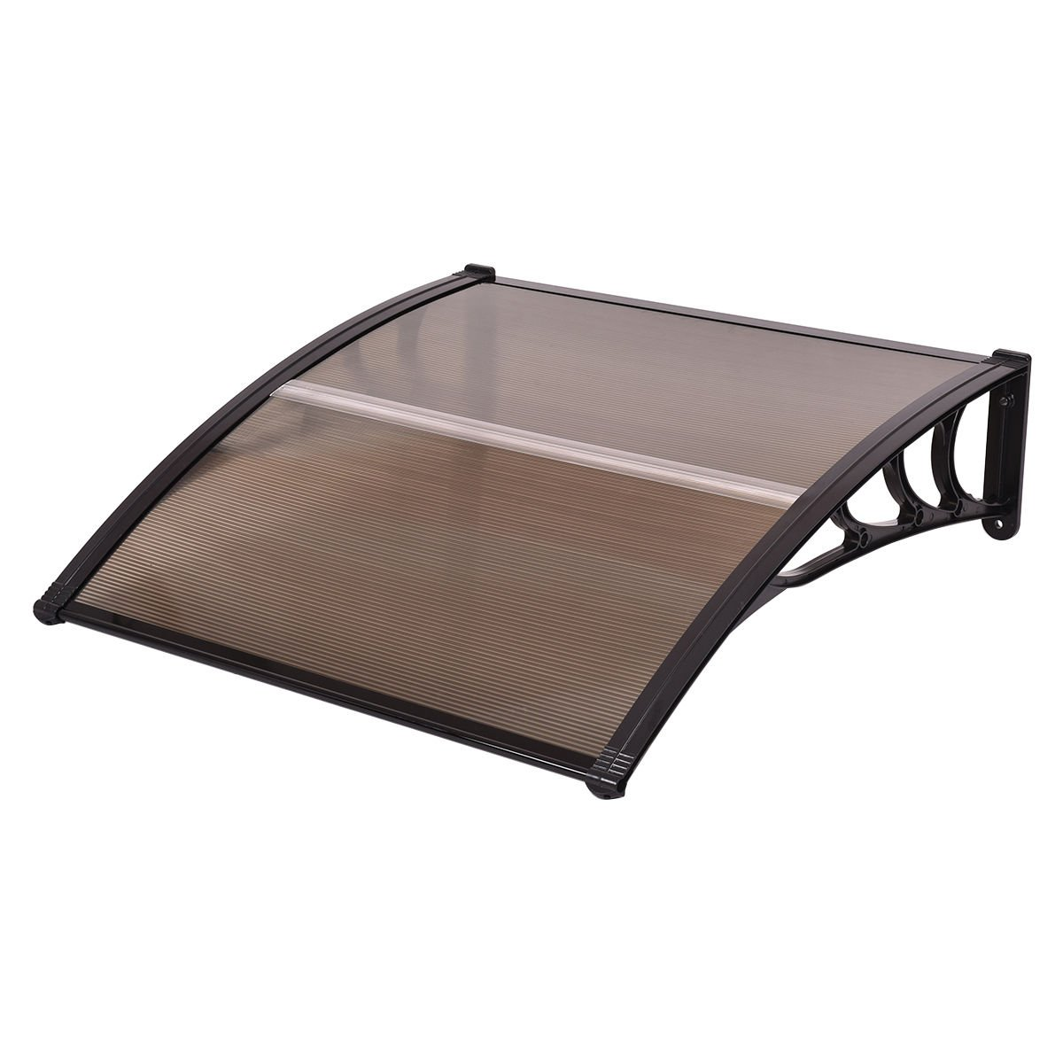 Tangkula 40''x 40'' Window Awning Modern Polycarbonate Cover Front Door Outdoor Patio Canopy Sun shetter 3 Colors (Brown with Black Edge)